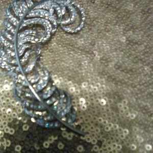 KJL Rhinestone Feather Pin Brooch